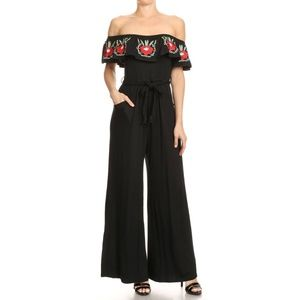 Vava by Joy Han black embroidered floral jumpsuit